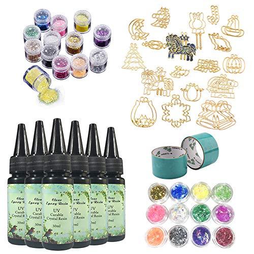 6 resina epoxi UV transparente + 34 biseles calados inoxidables para hacer dijes colgantes llaveros pendientes joyas, con 2 cintas sin cola + 24 purpurina brillante multicolor