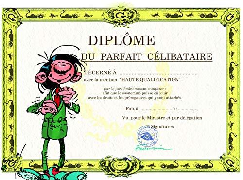 Gaston Lagaffe Dubbele kaart, met envelop, diplom van het perfecte vrijgezellenfeest, chique mode kostuumjack voor heren, voor een vriend