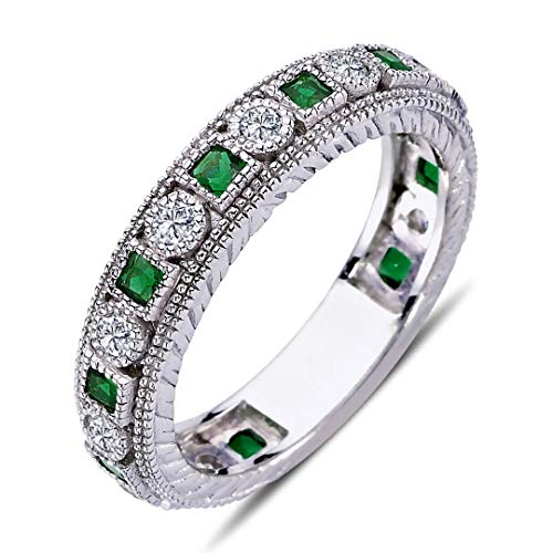 Diamant Princess Smaragd rundum Memoire Ring Trauring ?n 14 Karat Weißgold
