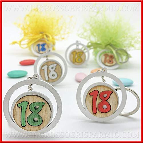 Ingrosso e Risparmio 12 Portachiavi con Ciondolo Tondo in Legno e Numero 18 colorato, Assortito in 6 Colori, bomboniere economiche per Compleanno 18 Anni (Senza confezionamento)