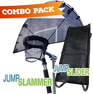 Combo Jump Slammer Trampoline Basketball Hoop & Jump Slider Trampoline Ramp Slide