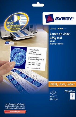 Avery C32010-25 Visitenkarten mikroperforiert 185g/m² für Tintenstrahl-/ monochrome Laserdrucker/ Kopierer 85x54mm 250Stück
