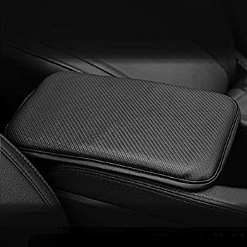 MECHCOS Auto Center Console Cover Pad Leather Car Armrest Seat Box Protector Cover Universal Fit for Most Vehicle SUV Truck Car Accessories - Black Small Stripes