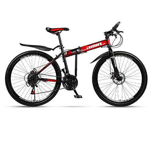Folding Mountain Bike Bicycle Adult Integrated Wheel Double Shock Absorption Racing 21/24/27 Speed Off-Road Variable Speed Male and Female Students Fast Cycling,Red,24in/24speed