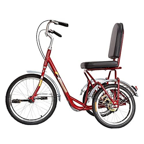 Adult Tricycle Outdoor Sports Three Wheel Cruiser Bike High Carbon Steel Frame 3 Wheel Bikes with Seat Backrest Basket for Seniors, Women, Men