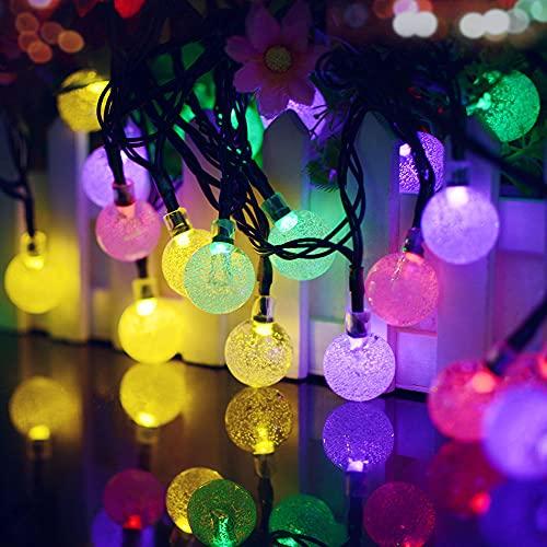 Guirnalda Luces Exterior Solar, 11M/36FT 60 LED Solar Cadena de Luces Bola Cristal, 8 Modos IP65 Impermeable, Decoración para Interior/Exterior, Navidad, Fiestas, Bodas, Patio, Jardín, Festivales