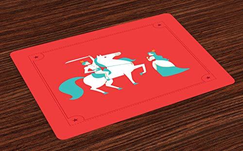 ABAKUHAUS Sprookje Placemat Set van 4, Prinses Prince op Paard, Wasbare Stoffen Placemat voor Eettafel, Dark Coral Dark Seafoam