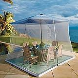 Zanzariera per ombrelli, con porta con cerniera e rete in poliestere, regolabile in altezza e diametro – adatta a ombrelli e tavoli da terrazzo – bianco