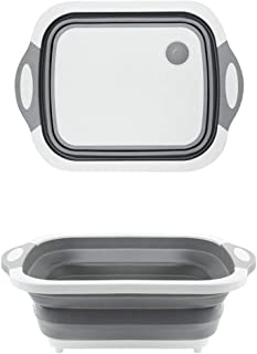 Ahyuan Collapsible Drying Dish Storage Rack Chopping Board Portable Dish Pan Washing Basin Foldable Camper Strainer Wash and Drain Dish Tub Drainer Basket over the Sink Dish Drainer