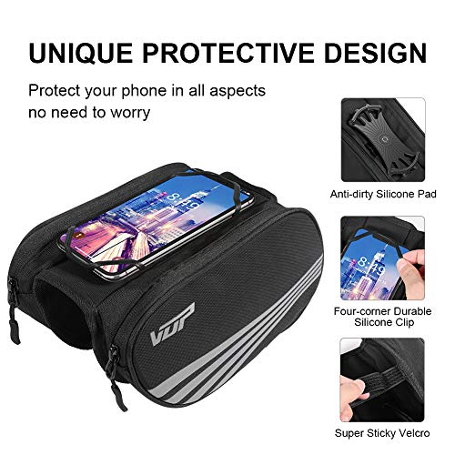 VUP Bike Front Frame Bag, Universal Bicycle Motorcycle Handlebar Bag, Top Tube Bike Bag with 360° Rotation Cell Phone Holder for iPhone 11 Pro/XS MAX/XR/X/7/8 Plus, Galaxy S9/8/7/6/Note, Nubia, Huawei