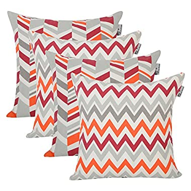 Accent Home Square Printed Cotton Cushion Cover,Throw Pillow Case, Slipover Pillowslip For Home Sofa Couch Chair Back Seat,4pc pack 18x18 in Chevron Multi color