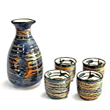 Sake Set Japanese Sake Cup Set Traditional Hand Painted Design Porcelain Pottery Ceramic Cups Crafts Wine Glasses 5 Piece (Blue Rich)