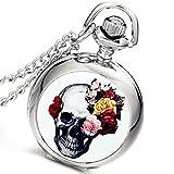 Lancardo - Reloj de bolsillo con diseño de calavera de plata y rosa envejecida, con esfera blanca, con bolsa de regalo para fiesta de disfraces de Halloween