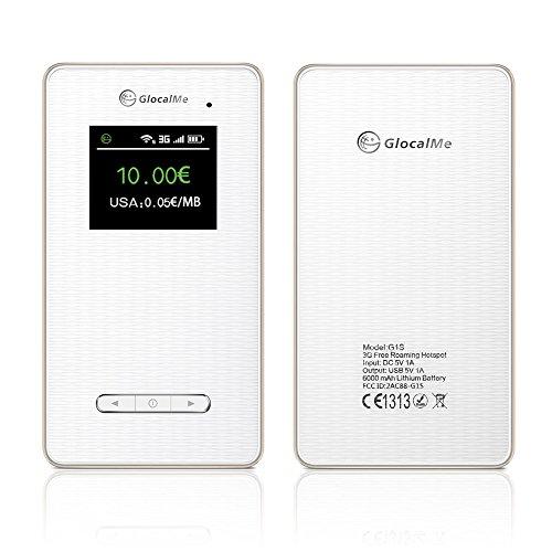 Mylunn £ ¨ TM) Glocalme G1S Portable Global mobile WiFi hotspot sbloccato free Roaming viaggio WiFi 6000mAh Power Bank supporto oltre 100paesi