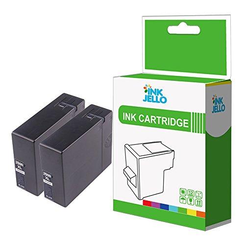 InkJello - Cartucho de tinta de repuesto para Canon MAXIFY iB4050, iB4150, MB5050, MB5150, MB5155, MB5350, MB5450, MB5455, PGI-2500XL (2 unidades), color negro