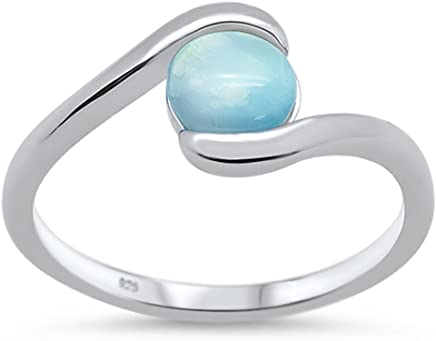 Oxford Diamond Co Sterling Silver Round Opal Ring Sizes 7-10 Choose Your Color!