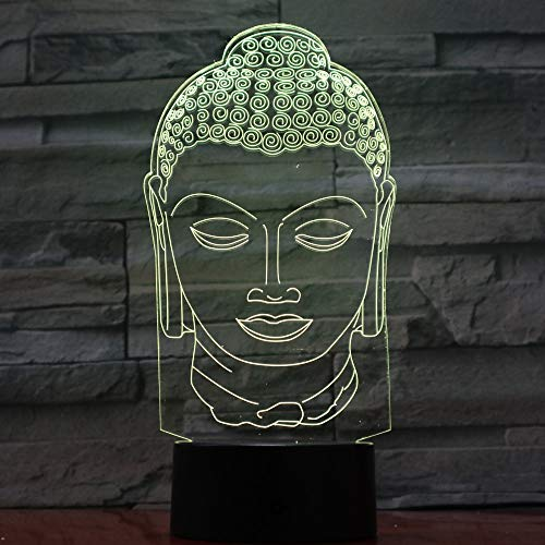 HHANN 3D Estatua De Buda Luz Nocturna 16 Colores Control