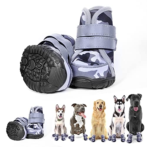 aveolela Dog Boots Non-Slip Dog Shoes Medium Size Dogs, Waterproof Dog Shoes with 4PCS Reflective Strips, Black imitating ox-Tendon Sole, Suitable for Running and Walking(XL, Off-White Camouflage)