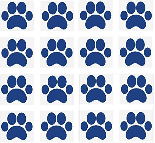 """SecurePro Products 16 Large Paw Prints Premium Quality Decal Stickers - Our Amazing Super Tac Adhesive Holds Strong; Easily Re-Position and Reuse, Easy to Remove, 5.25"""" Tall x 6"""" Wide"""" (Blue)"""