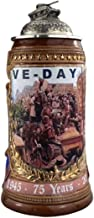 German Beer 75 Years VE-Day Stein, 0.75 liter tankard, beer mug with liberation motifs, gold color hand-painting, pewter l...