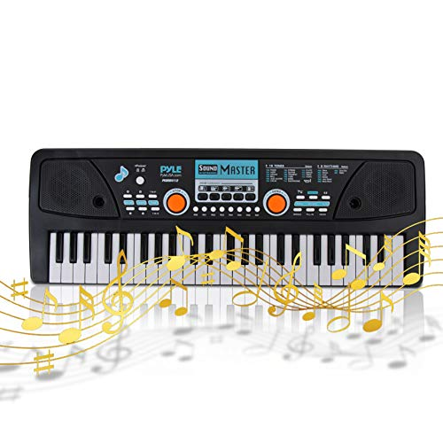 Digital Electronic Musical Keyboard - Kids Learning Keyboard 49 Keys Portable Electric Piano w/ Drum Pad, Recording, Rechargeable Battery, Microphone - Pyle PKBRD4112 Black