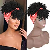YiTi Hair High Afro Puff Headwrap Drawstring Ponytail with Bangs Kinky Curly Pony Tail Synthetic Bun Wrap-wig 2 in 1 Updo Head-Wrap Hairpieces Puff Ponytail Hair Extensions for Women(BLACK)
