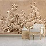 Papel Tapiz 3D Imagen Mural Foto Moderna Europea En Relieve Belleza Mujer Niño Estatua Seda Pared Moderna Tv Telón De Fondo Para Sala De Estar Decoración Del Dormitorio 350(W) X256(H) Cm