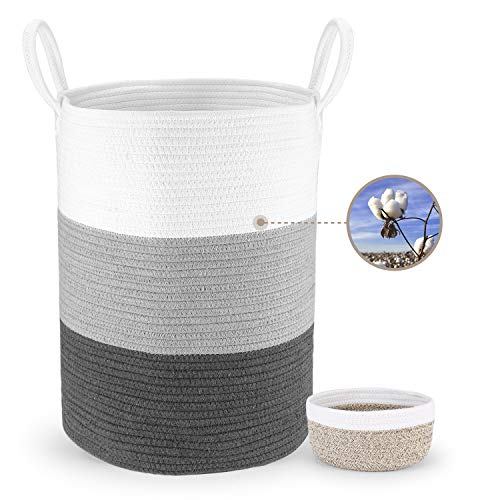 Cestas de lavandería Kasimir cestas de lavandería se pueden usar como cesta de almacenamiento para ropa libros etc plegable de gran capacidad algodón hecho a mano incluido un marco pequeño-46*35*35