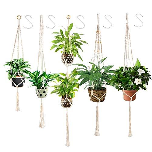 Ninonly 5 Piezas Colgador para Plantas Macramé Planta Percha Maceta Colgantes para Plantas Maceta Cuerda de Algodón Titular con 5 Ganchos Macetas de Planta Suspensión para Interior Jardín Hogar Decor