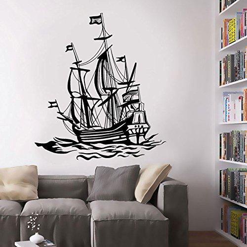BailongXiao Retro nautische Dekoration Boot segeln Marine fischerboot Ozean Wellen Vinyl wandaufkleber Wohnzimmer möbel 102x115 cm