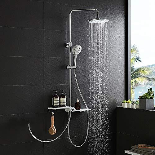 KAIBOR Edelstahl Duschsystem ohne Armatur, Duschset mit Ablage, Kopfbrause, 3 Strahlarten Handbrause, Regendusche Höhenverstellbar, kann an Duschthermostat und Brausearmatur angeschlossen werden