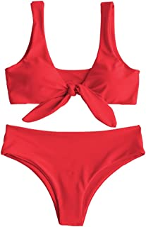 Womens Solid Color Strap Padded Front Knot Bikini Set