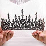 Florry Baroque Crowns Crystal Tiaras and Crowns Wedding Queen Crowns for Brides Halloween Costume Bridal Tiaras Hair Accessories for Women and Girls (Black)