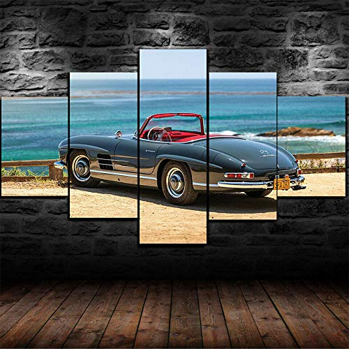 KOPASD Non-Woven Canvas Picture 200 x 100 cm 1960 Mercedes 300 SL Oldtimer 5-Piece Art Print Modern Wall Picture XXL Wall Decoration Design Wall Picture Abstract
