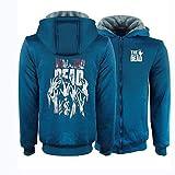 QWEIAS Walking Dead Plus Velvet Verdickte Zipper Jacke Studenten Kapu Winter-Sweatshirt Warm Jacke B-S