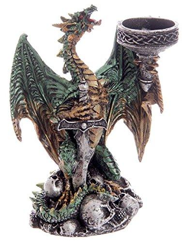 Drago Candelabro tenendo. Colori, Poliresina, verde