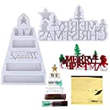 2pz Stampi Silicone per Resina Natale 5pz Carta Stagnola Oro Natalizi Addobbi Oggetti Decorazioni Natalizie Fai da Te Merry Christmas