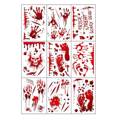 Naisde Halloween Sangriento Handprint Clings Huellas de Miedo Pegatinas de Pared Calcomanías para la Casa Haunted 9pcs Halloween Stainy SCA