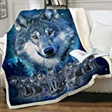 Sleepwish Blue Wolf Fleece Throw Blanket Winter Wolves Animal Comfy Reversible Blanket Lightweight Soft Thick Warm Blanket for Bed Couch Twin(60'x80')