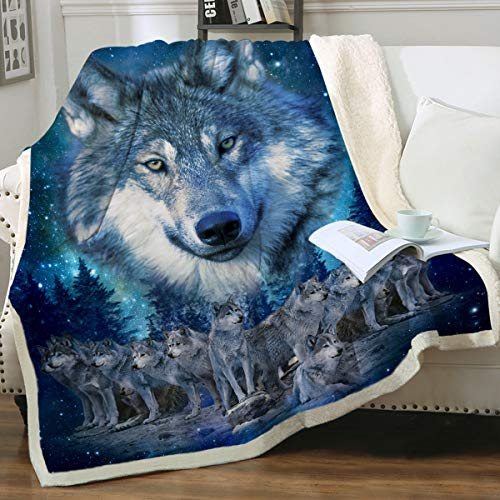 Sleepwish Blue Wolf Fleece Throw Blanket Winter Wolves...