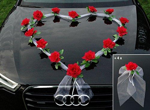 Autoschmuck Organza Herz Auto Schmuck Braut Paar Rose Deko Dekoration Hochzeit Car Auto Wedding Deko Girlande PKW (Rot/Weiß)