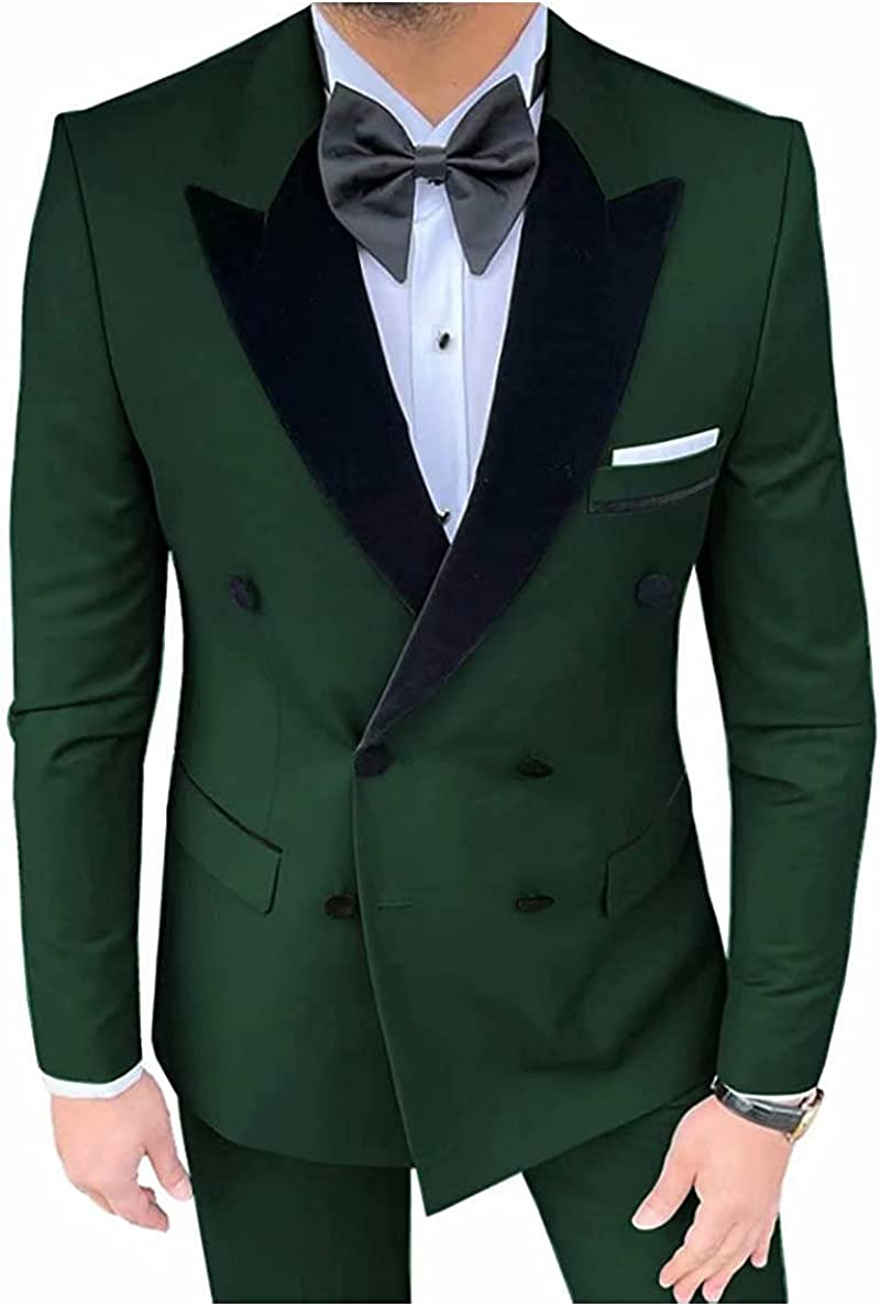 2021 Men's 2 Pieces Suit Prom Party Blazer Jacket Pants Double-Breast Groom Wedding Tuxedo