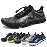 Water Shoes for Men Quick-Dry Aqua Sock Outdoor Athletic Sport Shoes for Kayaking,Boating,Hiking,Surfing,Walking (A-Gray/Black, 39)
