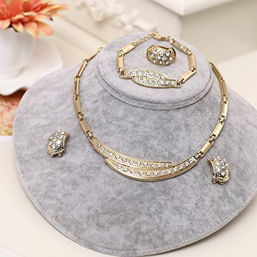 Dubai Gold Jewelry Sets Nigerian Wedding African Beads Crystal Bridal Jewellery Set Rhinestone Ethiopian Jewelry F719