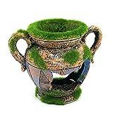 ZIEM Ornamento del Acuario Resina Artificial Moss Flower Pot en Forma de Bricolaje Hollow Hides Ornament for Fish Tank Aquarium Landscape Decoration