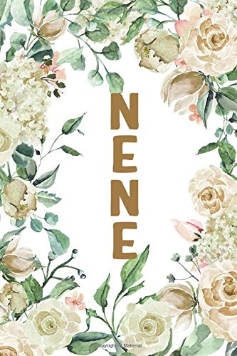 NENE: Nene Notebook, Cute Lined Notebook, Nene Gifts, Creme Flower, Floral