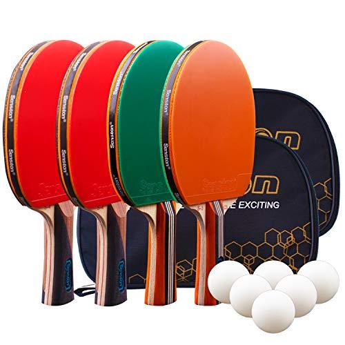 Senston Set da Ping Pong Set Racchette Ping Pong, 4 Racchette Ping Pong in Gomma a Doppia Faccia, 6 Palline Ping Pong, 2 Borsa Portatile