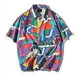 Aelfric Eden Men's Short-Sleeve Japanese Harajuku Shirt Summer Floral Tops Shirts