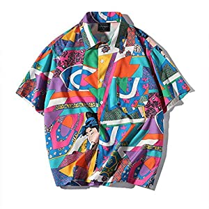Aelfric Eden Men's Short-Sleeve Japanese Harajuku Shirt Hawaiian Shirts Summer Floral Tops Shirts