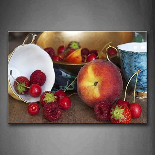 Wandkunst Bilder Obstschale Tasse Leinwanddruck Lebensmittel Poster Mit Für Zuhause Wohnzimmer Und Büro Decor (Kein rahmen) R1 60x80 CM